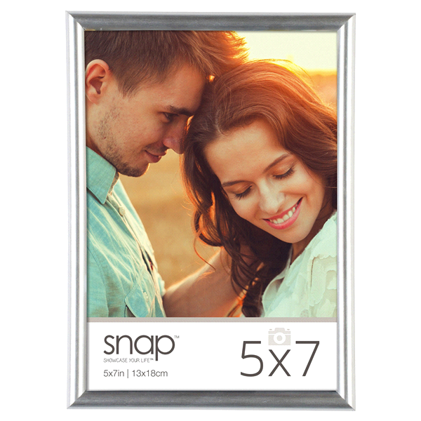 slide 1 of 1, Pinnacle Snap 5 X 7 Back-Loading Picture Frame - Silver,