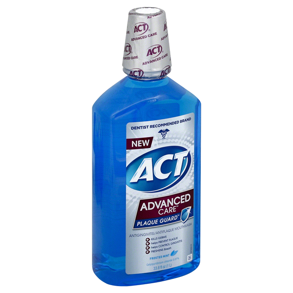 slide 1 of 1, ACT Advanced Care Plaque Guard Mouthwash - Frosted Mint,