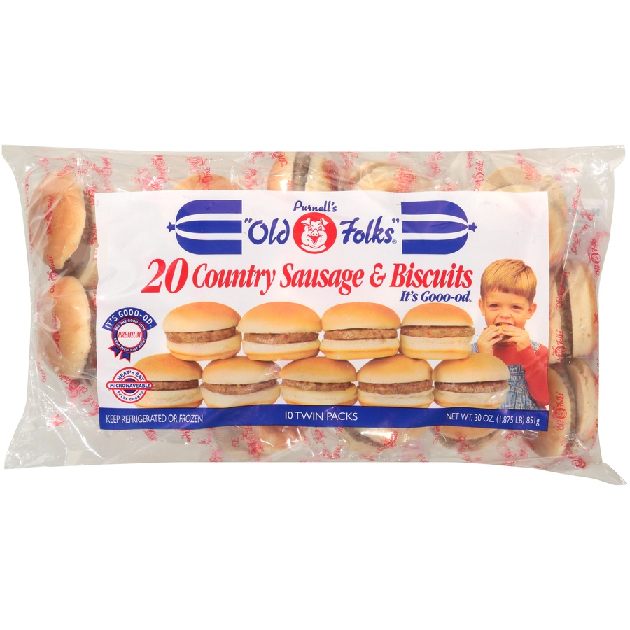 "slide 1 of 6, Purnell's ""Old Folks"" Country Sausage & Biscuits 10-2 ct Bag,"