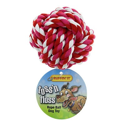 slide 1 of 1, Ruffin' It Toss 'n Floss Rope Ball Dog Toy, Colors May Vary,