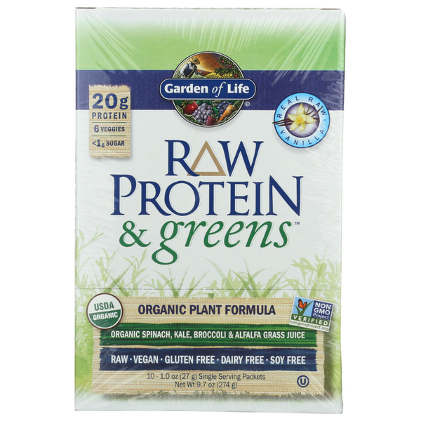 slide 1 of 1, Garden of Life Protein And Greens Vanilla Box Raw Organic,