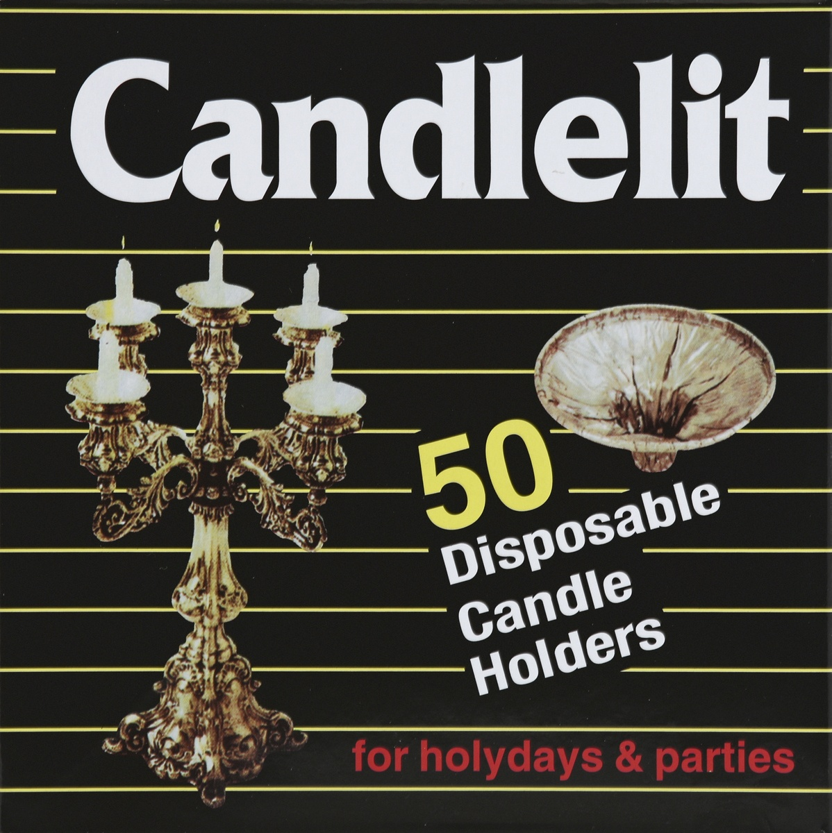 slide 4 of 4, Candlelit Disposable Candle Holders,