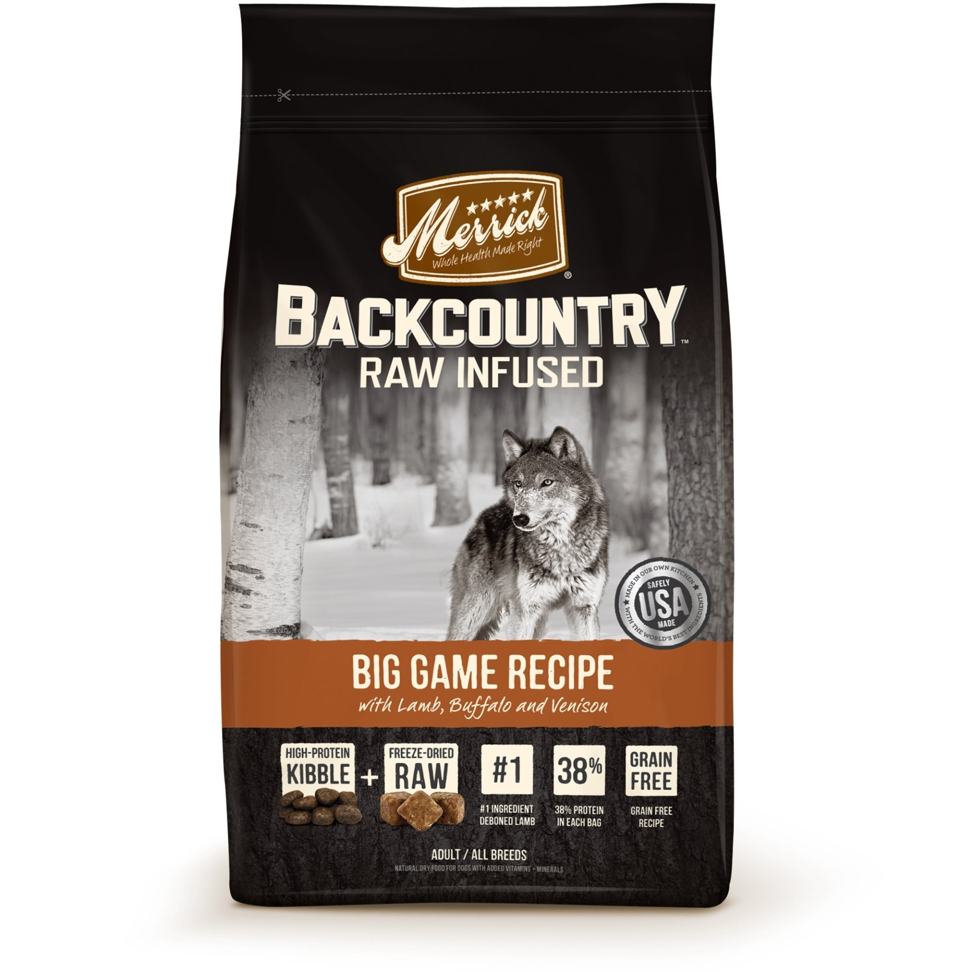 slide 1 of 1, Merrick Backcountry Grain Free Raw Infused Big Game Dry Dog Food,