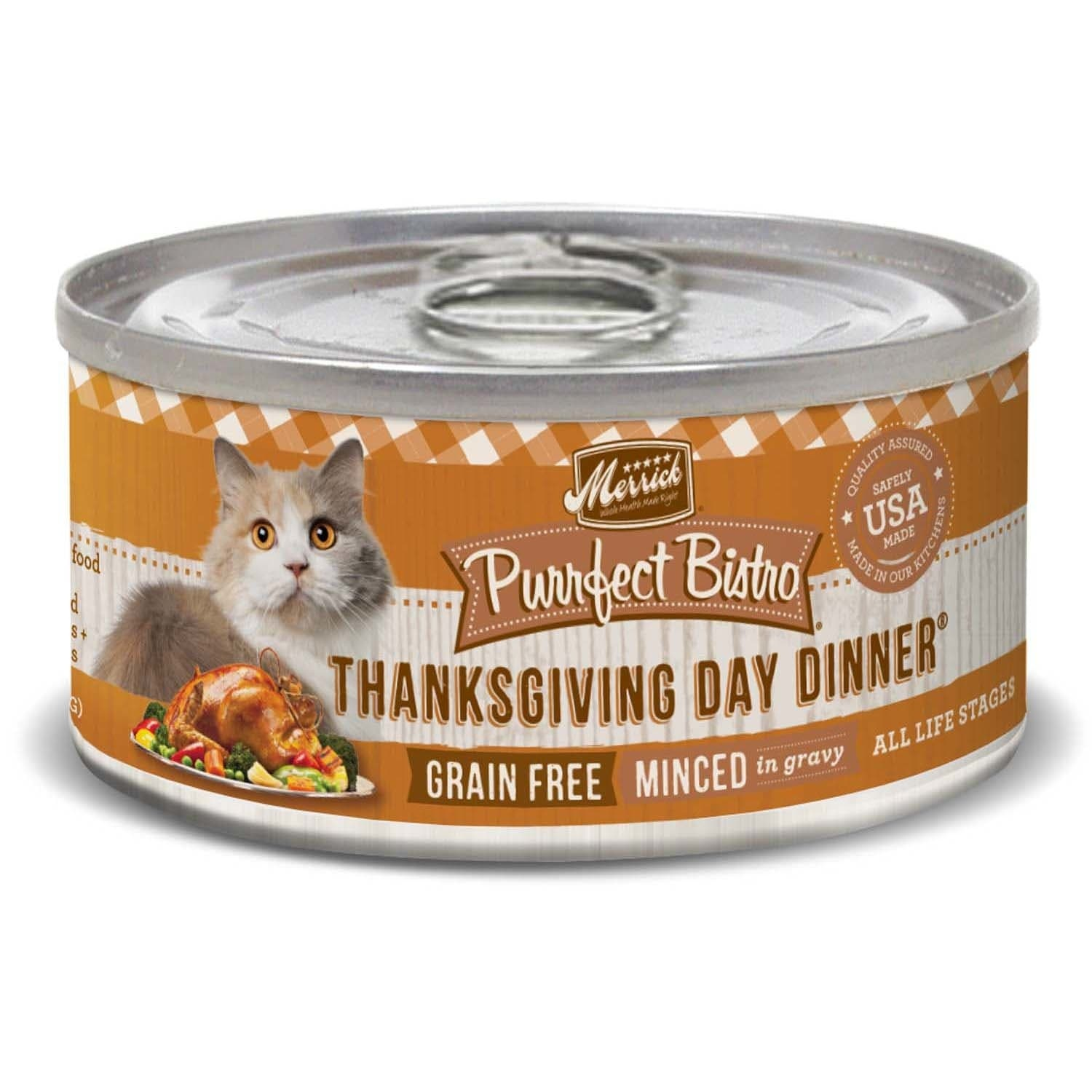 slide 1 of 1, Merrick Purrfect Bistro Grain Free Thanksgiving Day Dinner Canned Cat Food,