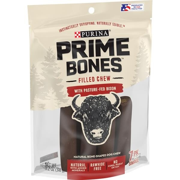 slide 1 of 1, Prime Bones Filled Chew With Pasture-Fed Bison Natural Small Dog Treats,