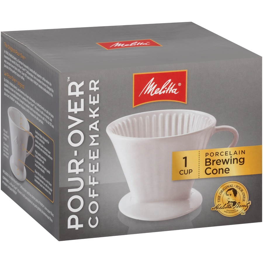slide 2 of 6, Melitta 1 Cup Porcelain Pour-Over Brewing Cone,