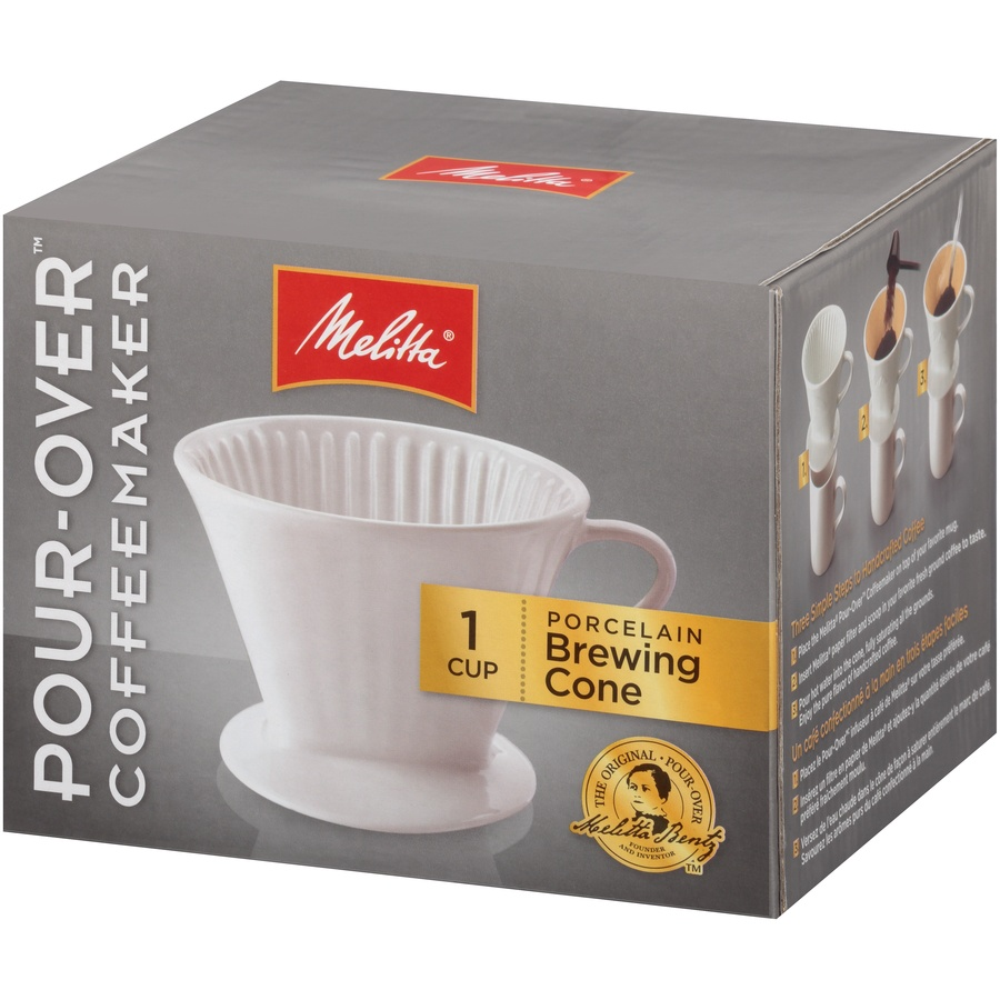 slide 3 of 6, Melitta 1 Cup Porcelain Pour-Over Brewing Cone,