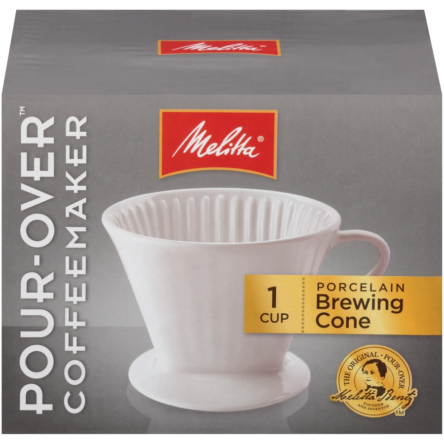 slide 1 of 6, Melitta 1 Cup Porcelain Pour-Over Brewing Cone,