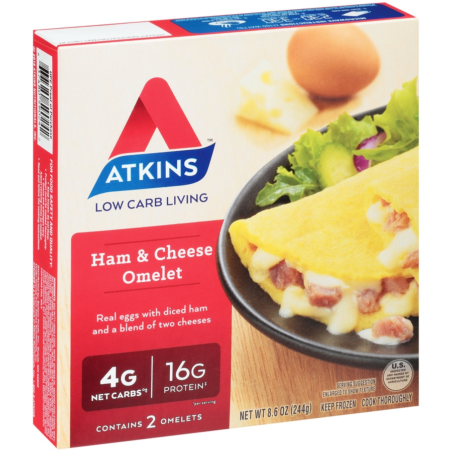 slide 2 of 8, Atkins Ham & Cheese Omelet,