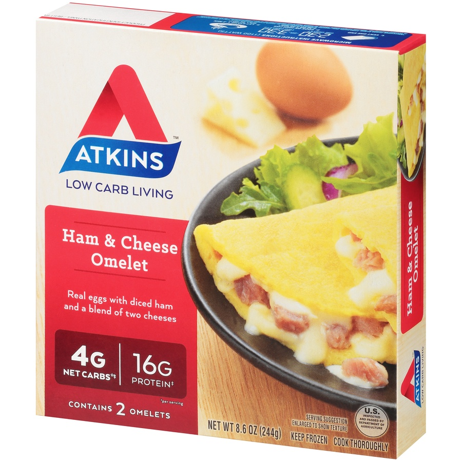 slide 3 of 8, Atkins Ham & Cheese Omelet,