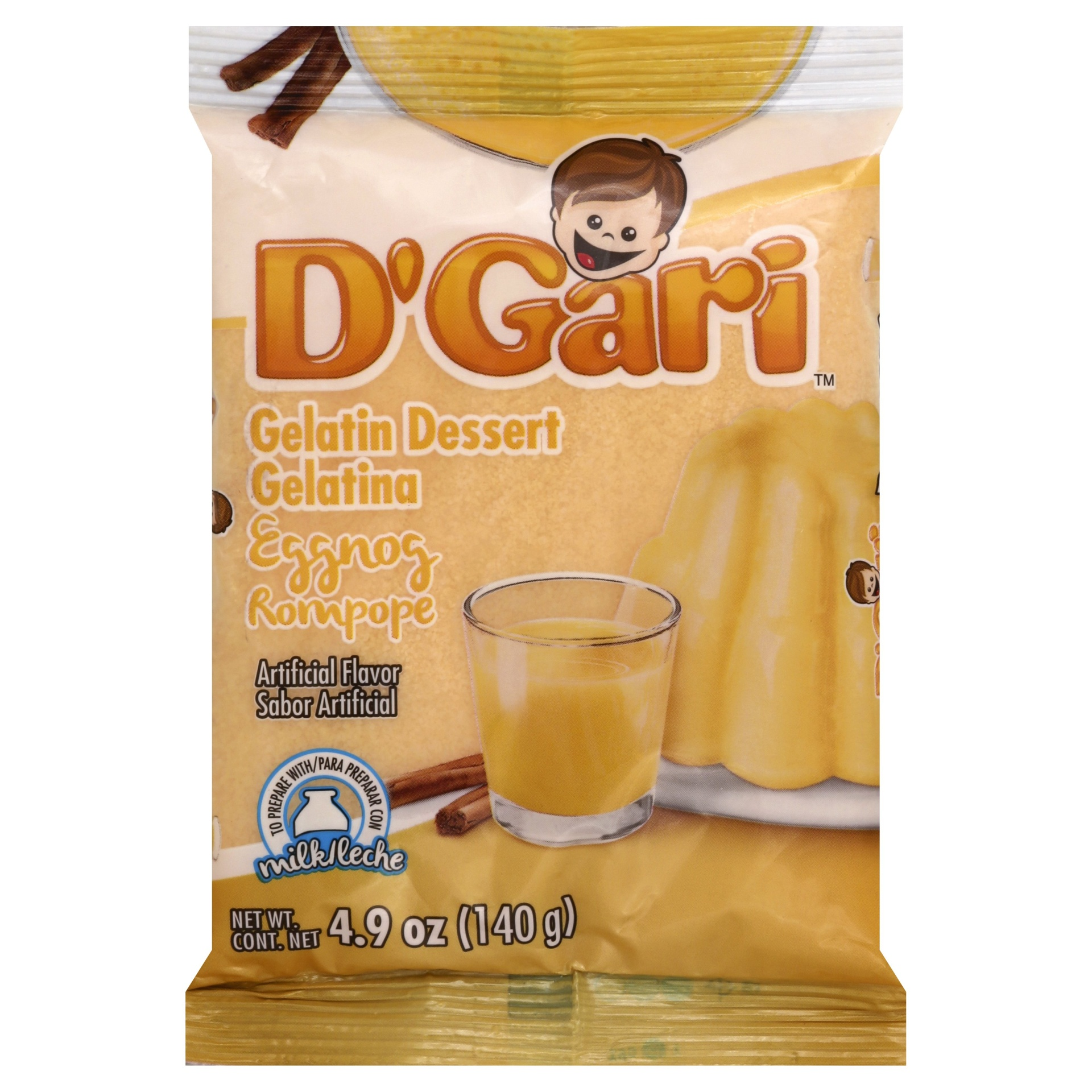 slide 1 of 1, D'Gari Eggnog Gelatin Dessert Mix,