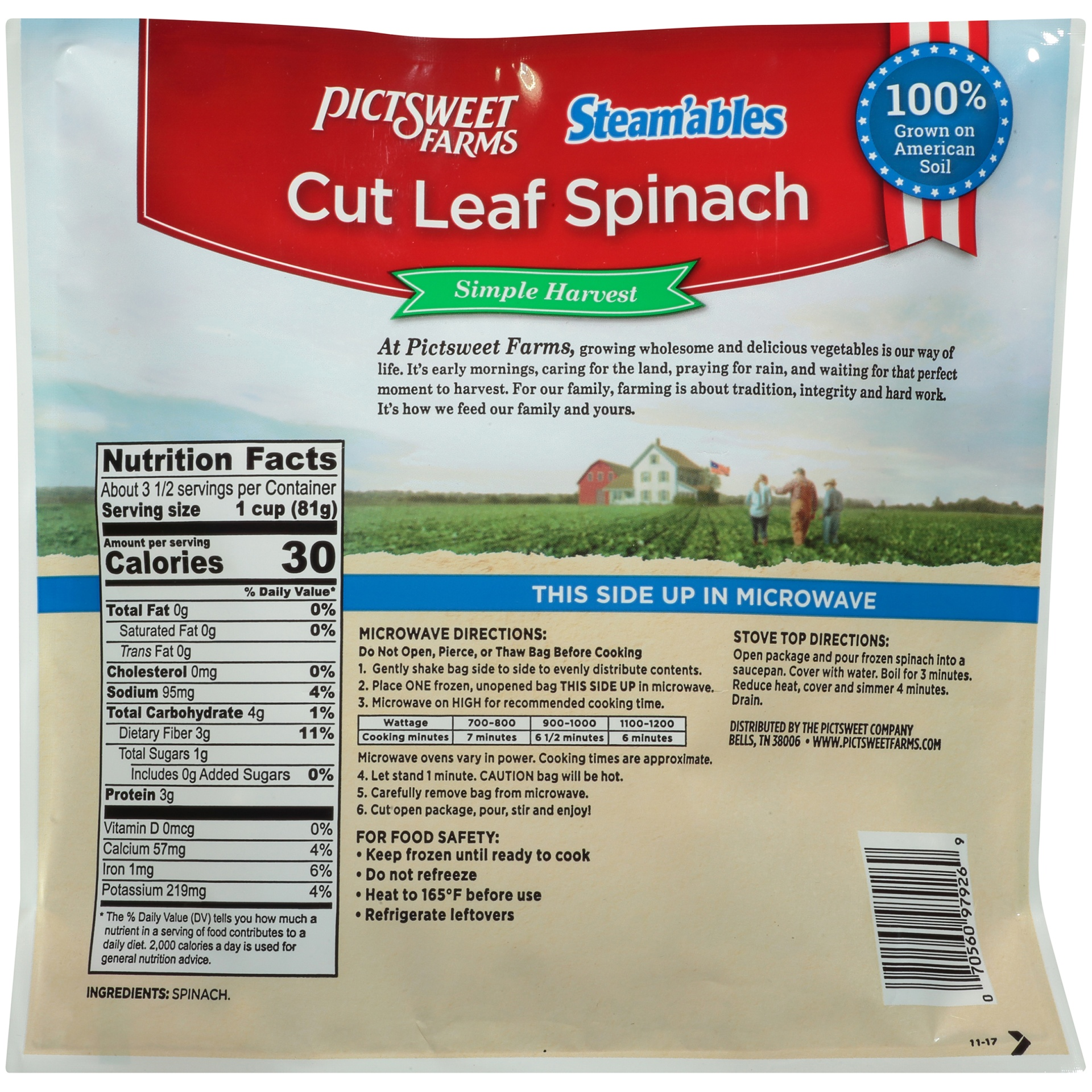 slide 4 of 6, PictSweet Steam'ables Cut Leaf Spinach,