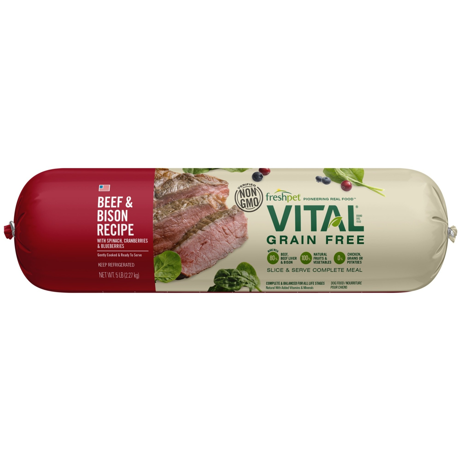 slide 1 of 1, Freshpet Vital Grain Free Beef & Bison Recipe with Spinach,