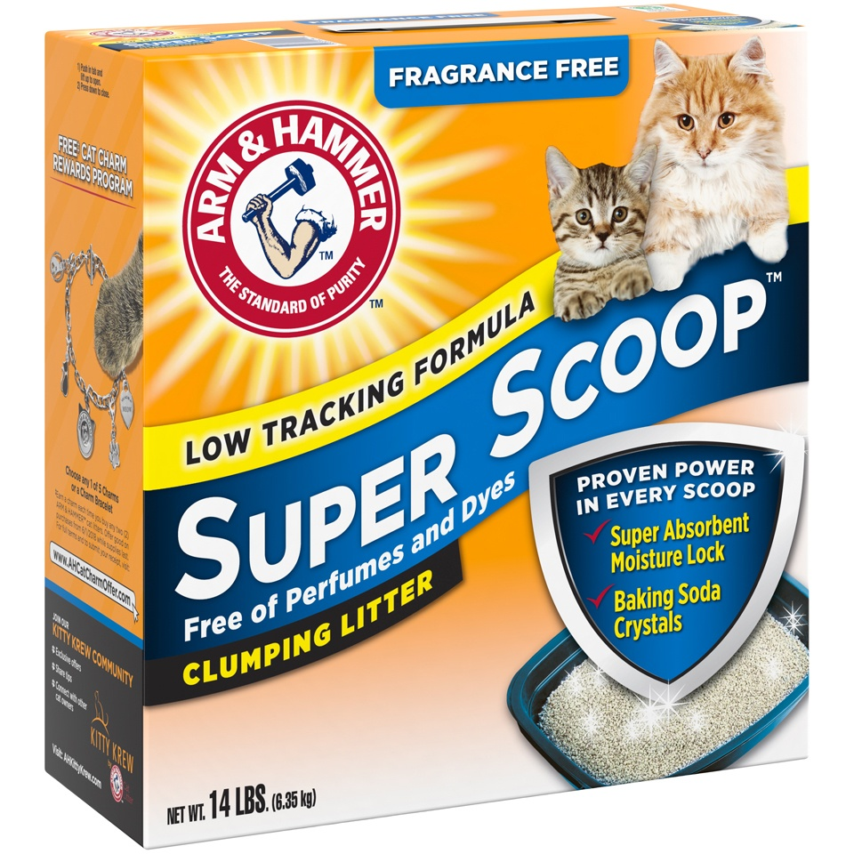 slide 2 of 3, ARM & HAMMER Super Scoop Fragrance Free Clumping Litter with Odor Elimating Baking Soda,