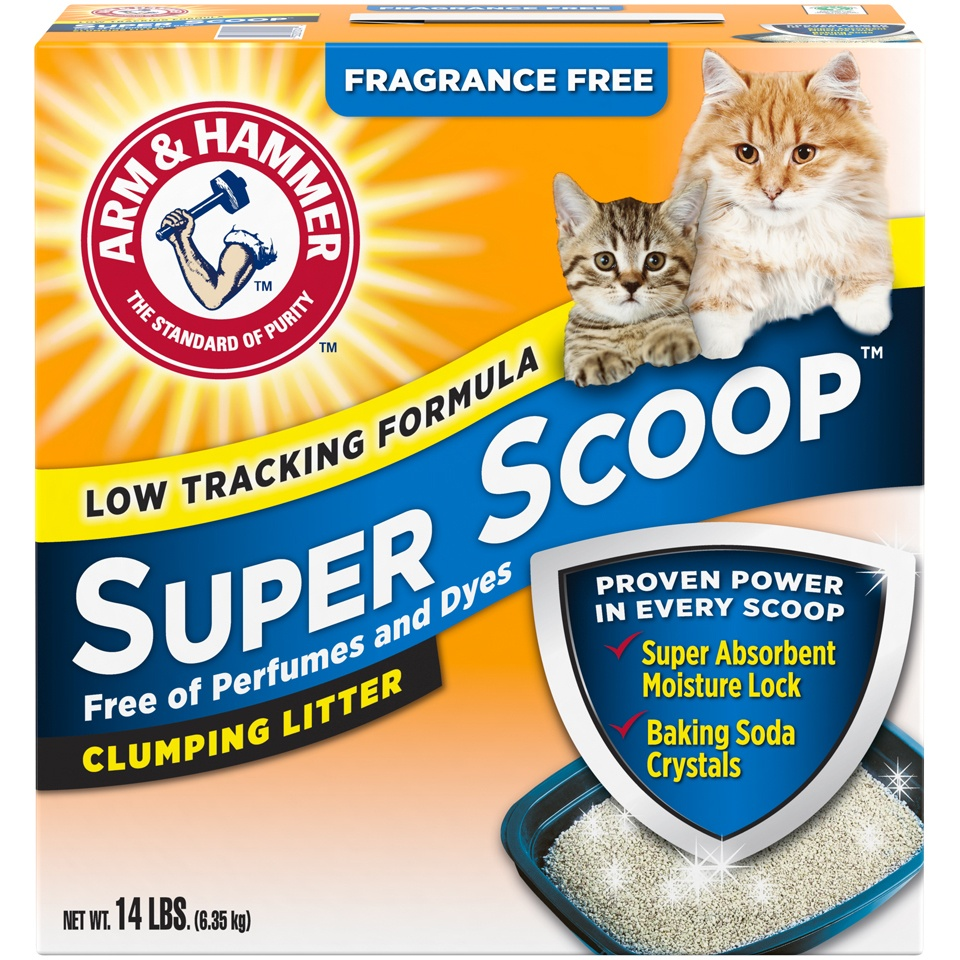 slide 1 of 3, ARM & HAMMER Super Scoop Fragrance Free Clumping Litter with Odor Elimating Baking Soda,