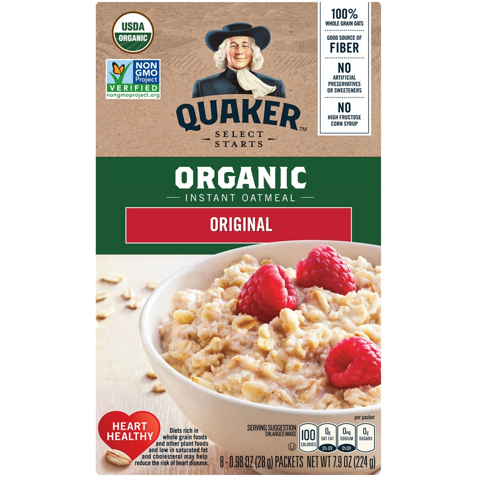 slide 2 of 4, Quaker Select Starts Organic Instant Oatmeal,