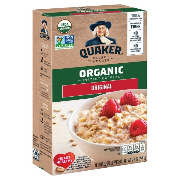 slide 1 of 4, Quaker Select Starts Organic Instant Oatmeal,