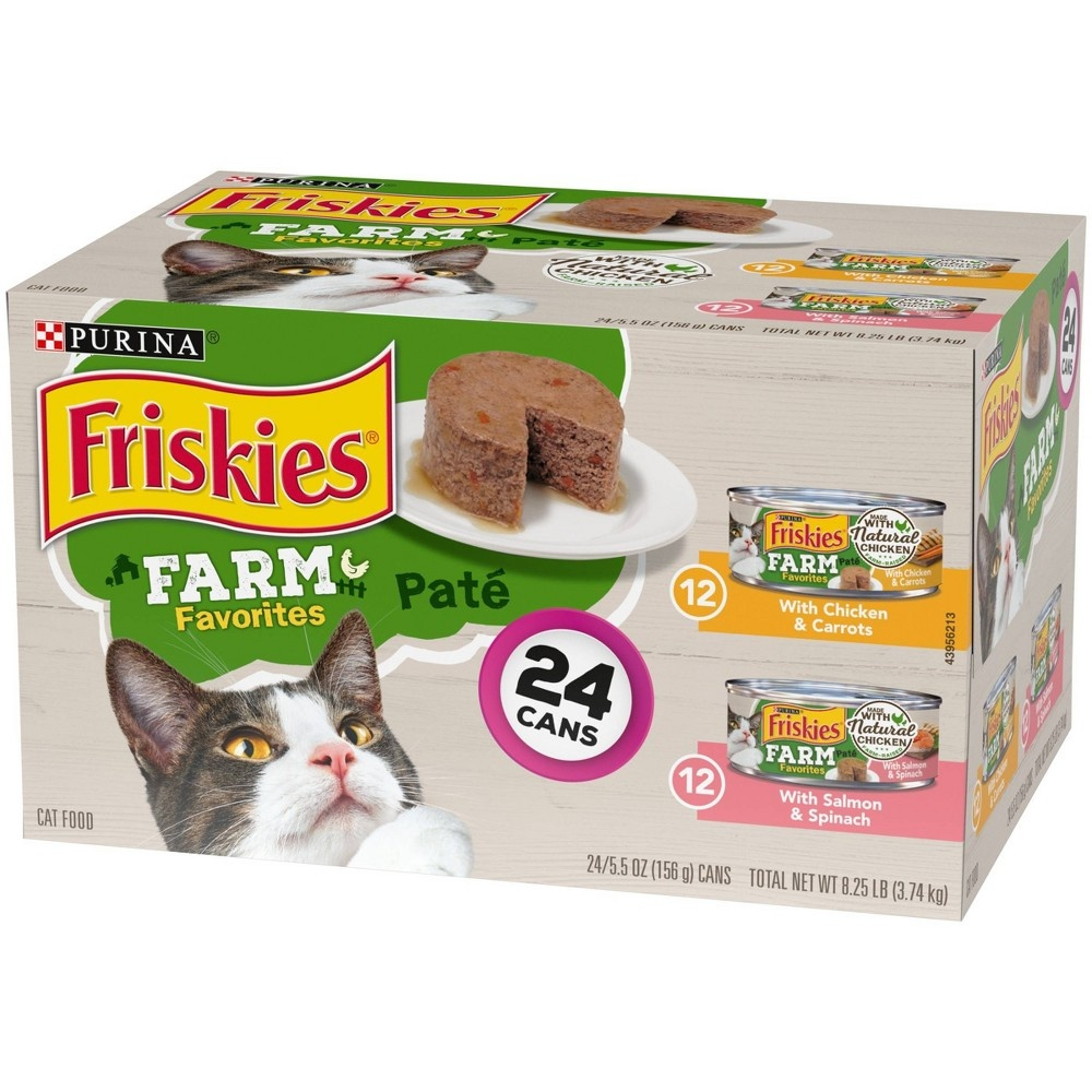 slide 5 of 5, Friskies Farm Chicken and Seafood Wet Cat Food,