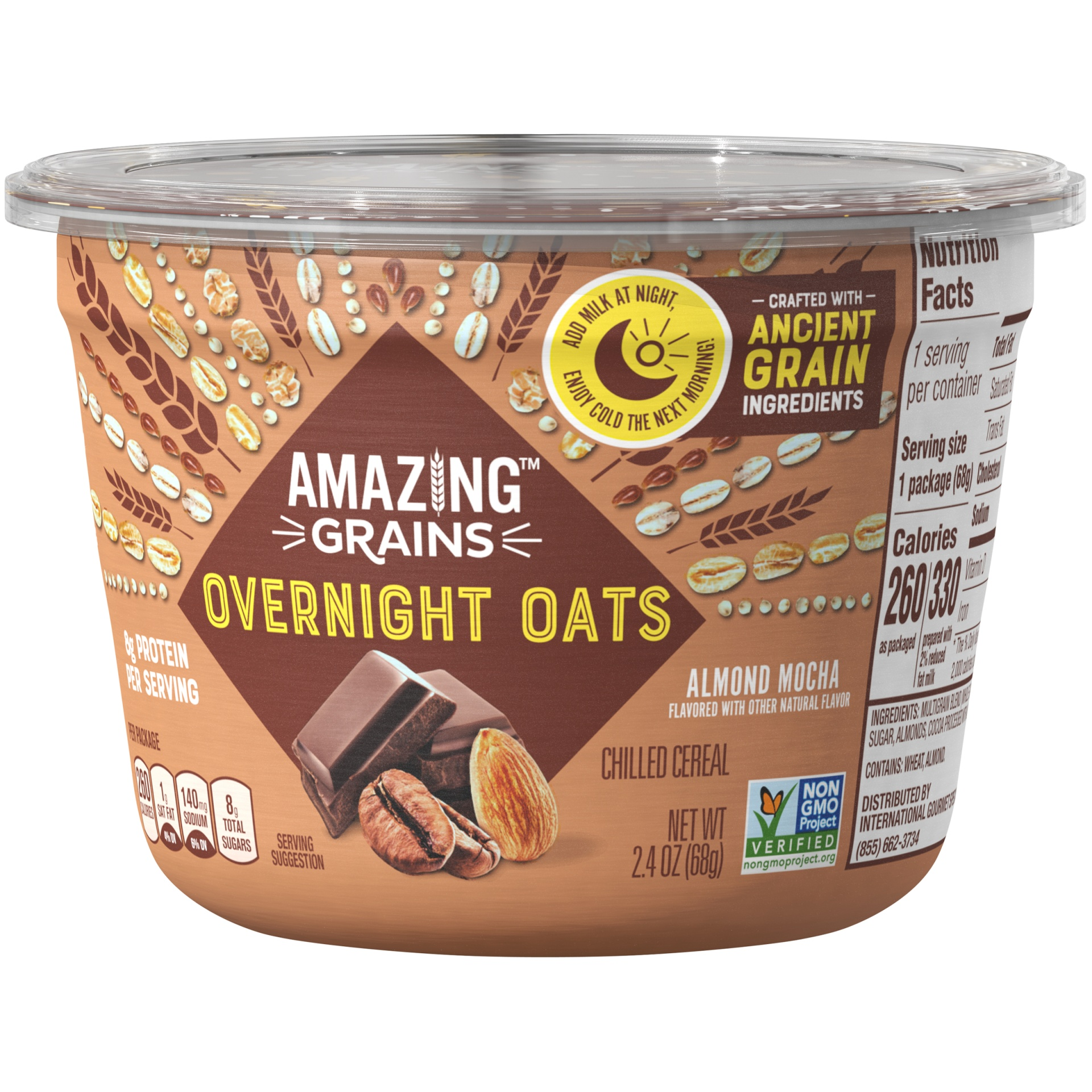slide 3 of 6, Amazing Grains Overnight Oats Almond Mocha,