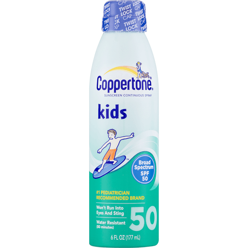 slide 4 of 9, Coppertone Kids Broad Spectrum SPF 50 Sunscreen Continuous Spray,