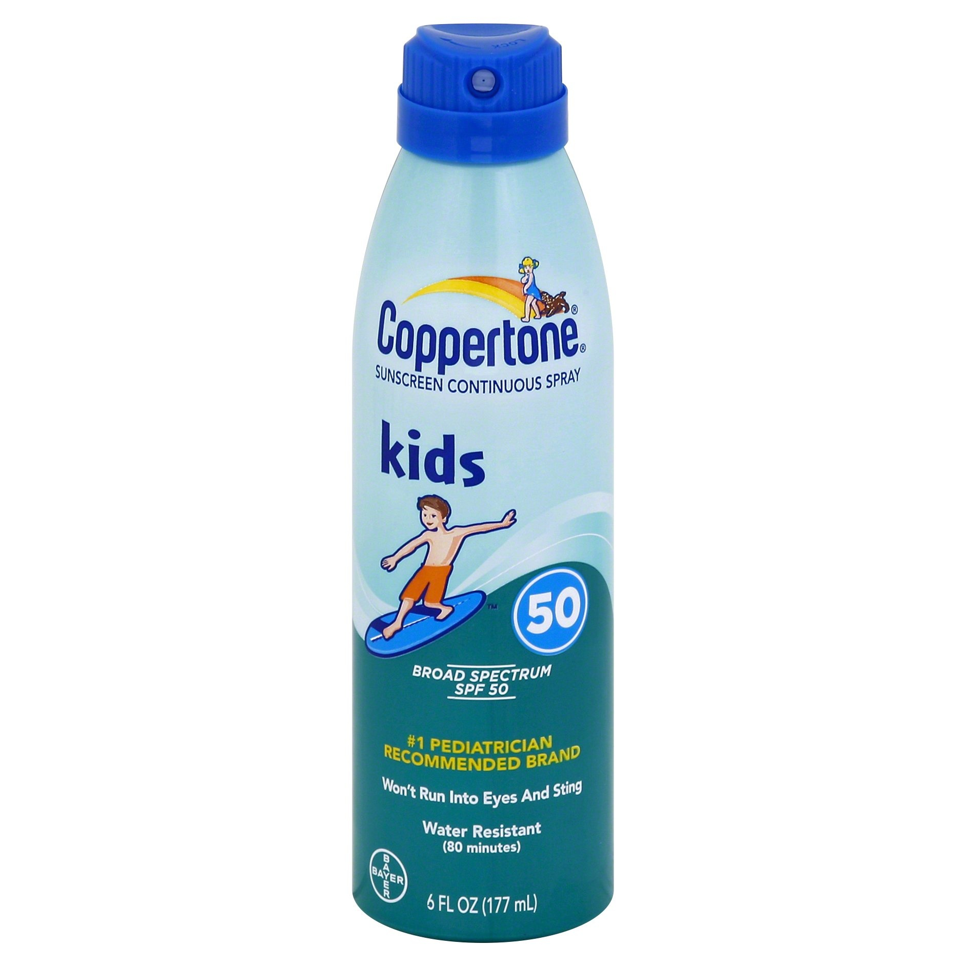 slide 1 of 9, Coppertone Kids Broad Spectrum SPF 50 Sunscreen Continuous Spray,