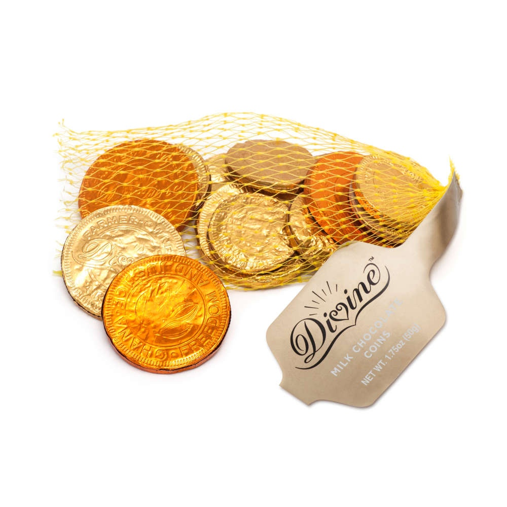 slide 1 of 1, Divine Milk Chocolate Gold Coins,