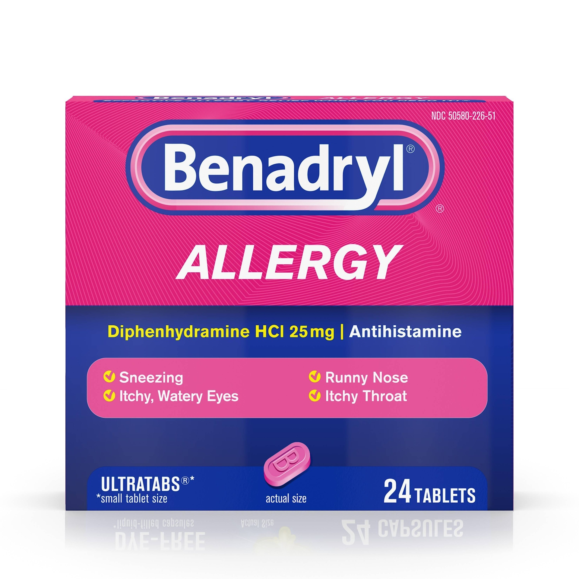 slide 1 of 9, Benadryl Ultratabs Allergy Relief Tablets - Diphenhydramine HCl,