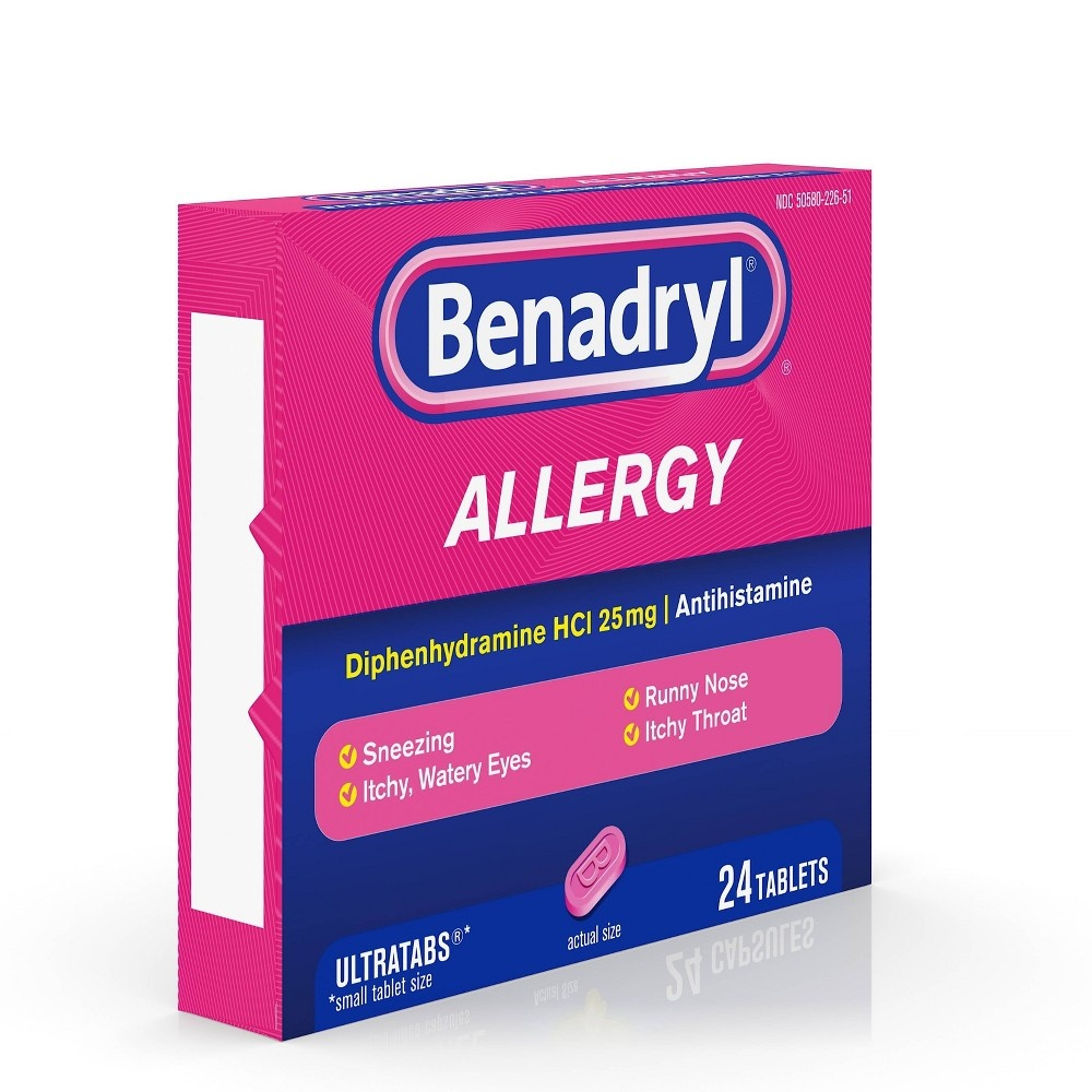 slide 3 of 9, Benadryl Ultratabs Allergy Relief Tablets - Diphenhydramine HCl,
