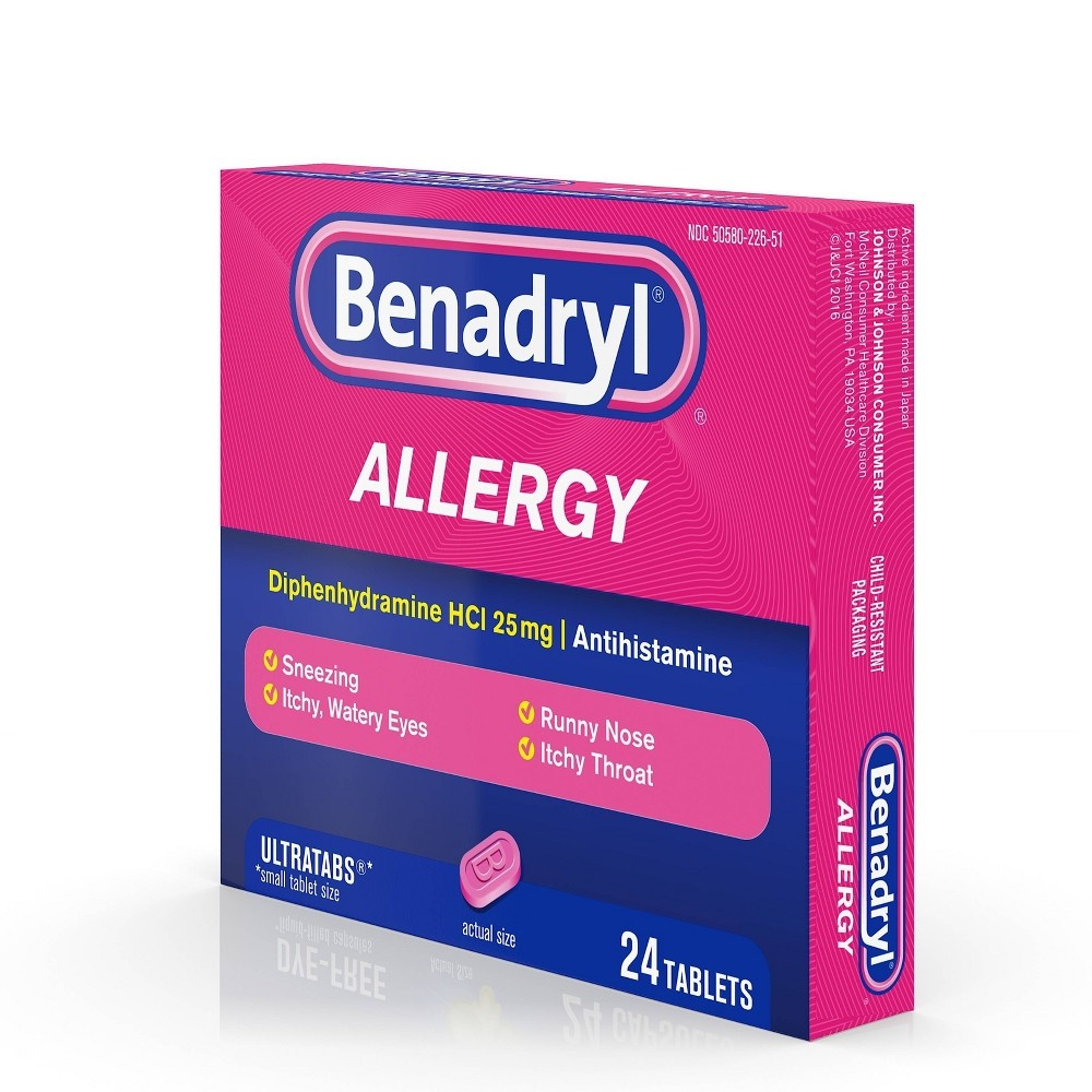 slide 9 of 9, Benadryl Ultratabs Allergy Relief Tablets - Diphenhydramine HCl,