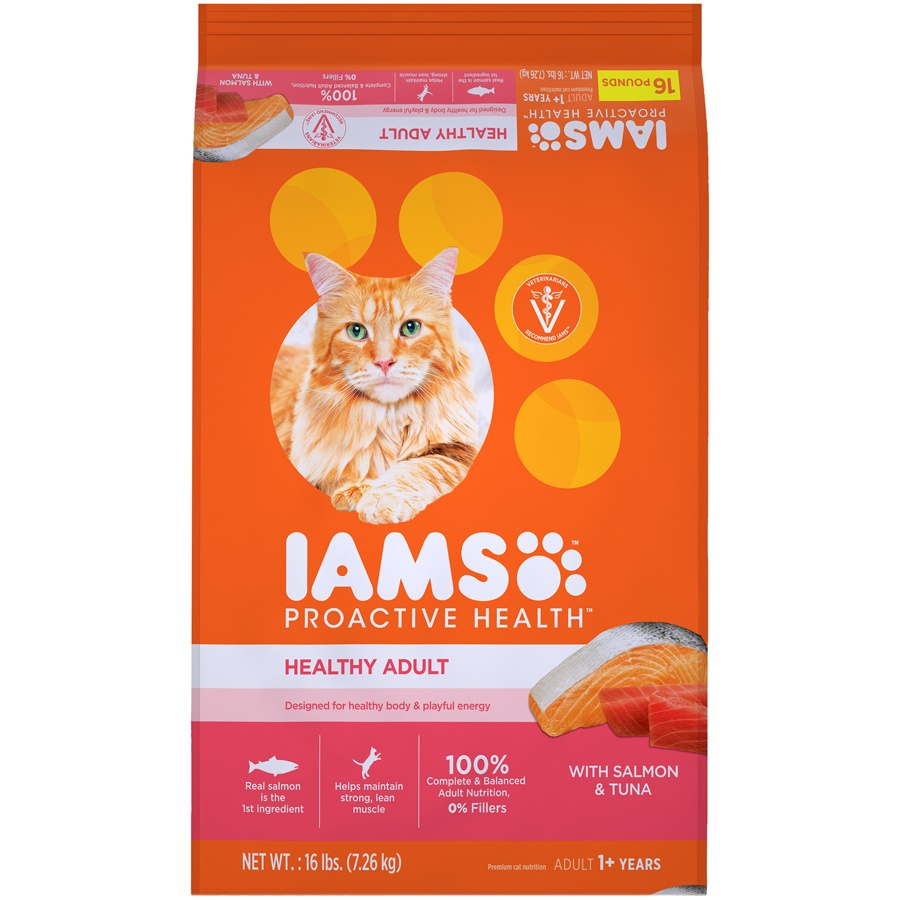slide 1 of 10, IAMS Proactive Health Healthy Adult Dry Cat Food with Salmon & Tuna,