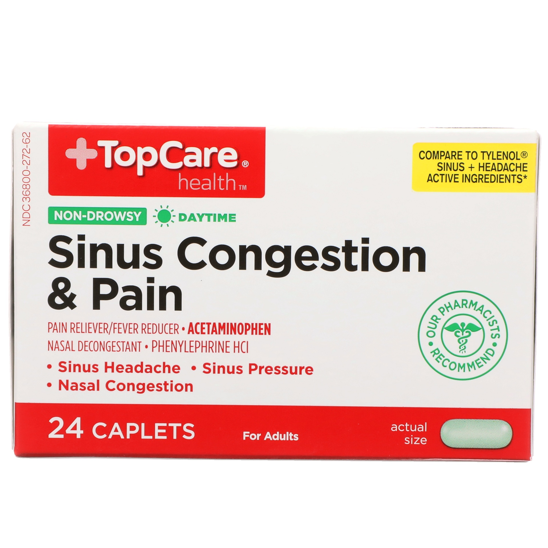 slide 1 of 6, TopCare Sinus Congestion & Pain Daytime Non-drowsy Pain Reliever/fever Reducer - Acetaminophen, Nasal Decongestant - Phenylephrine Hcl Caplets,
