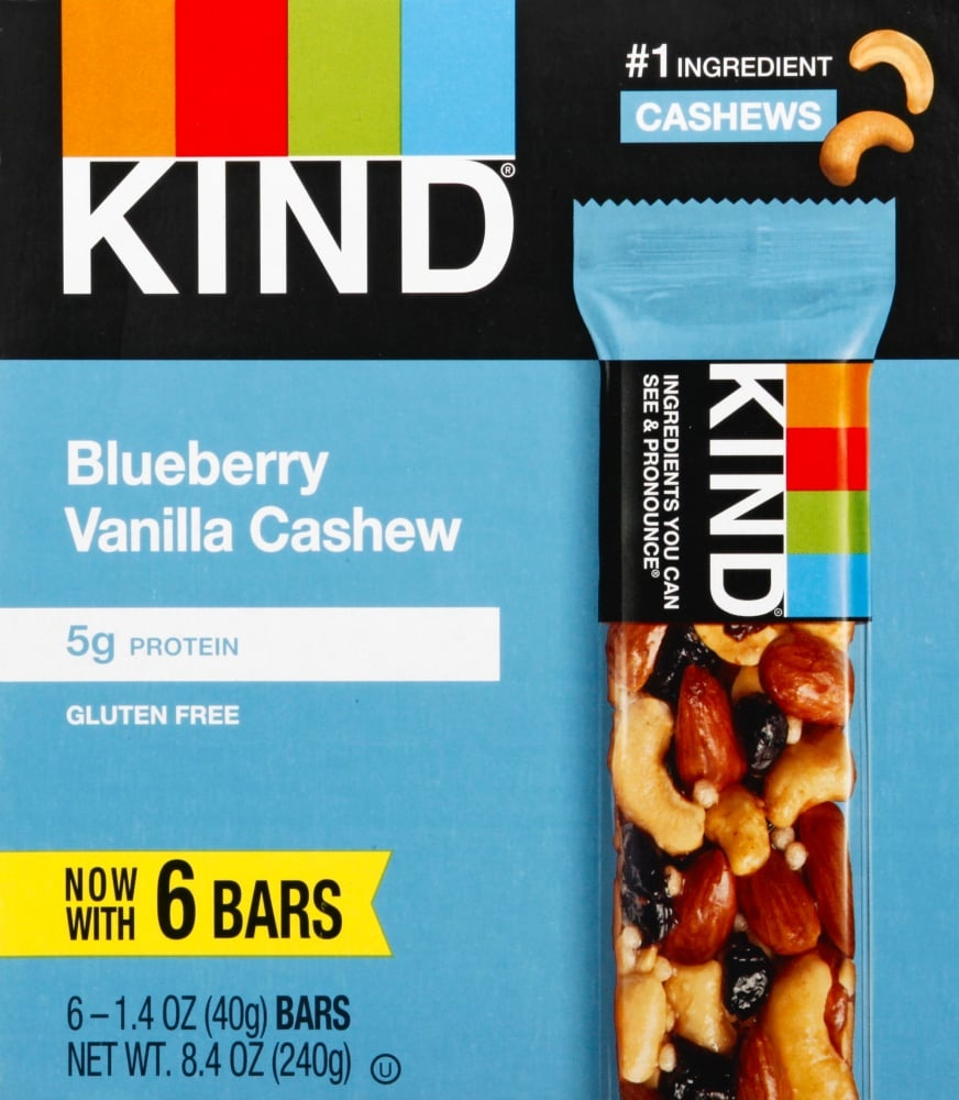 slide 1 of 2, KIND Fruit And Nut Bar Blueberry Vanilla And Cashew,