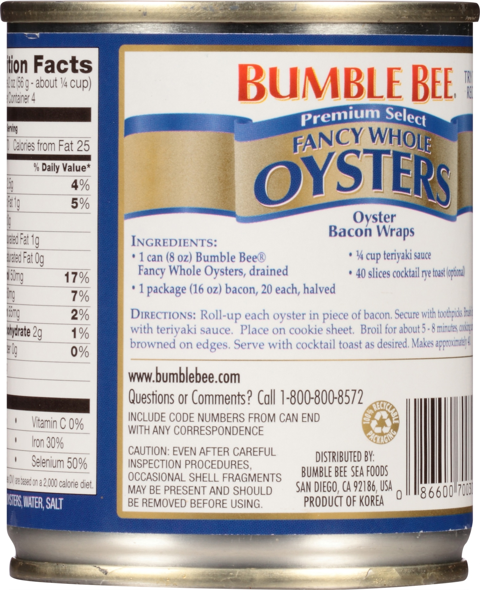 slide 6 of 8, Bumble Bee Whole Fancy Oysters,