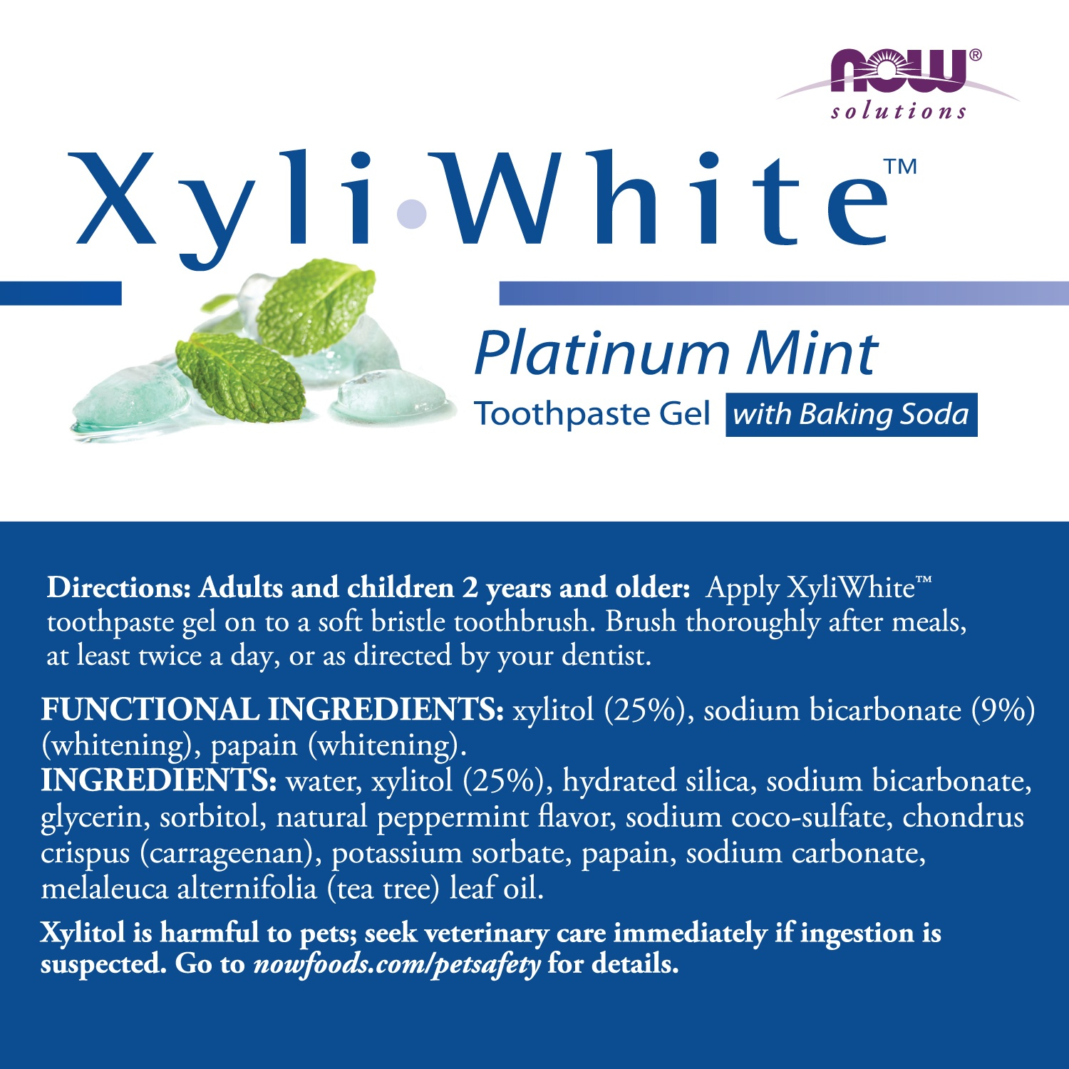 slide 2 of 2, NOW Xyliwhite Platinum Mint Toothpaste Gel with Baking Soda,