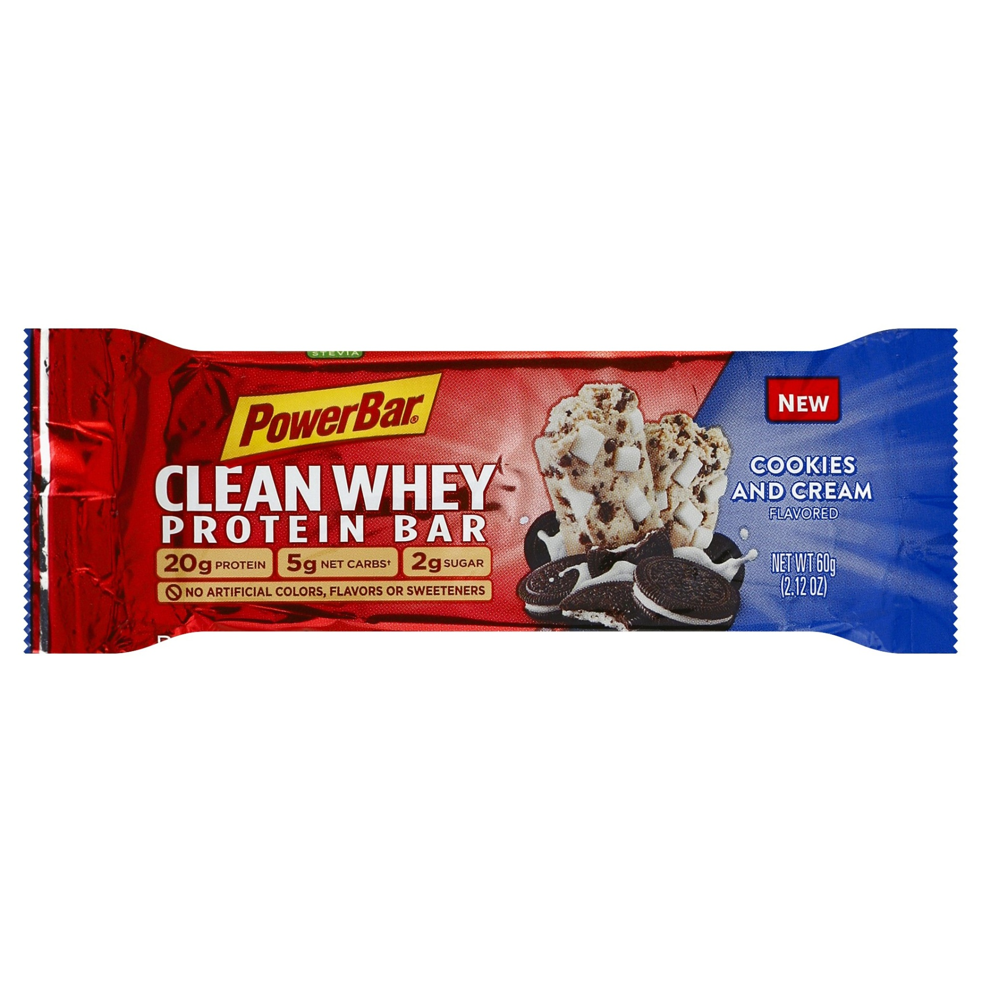 slide 1 of 6, PowerBar Clean Whey Cookies and Cream Flavored Protein Bar,