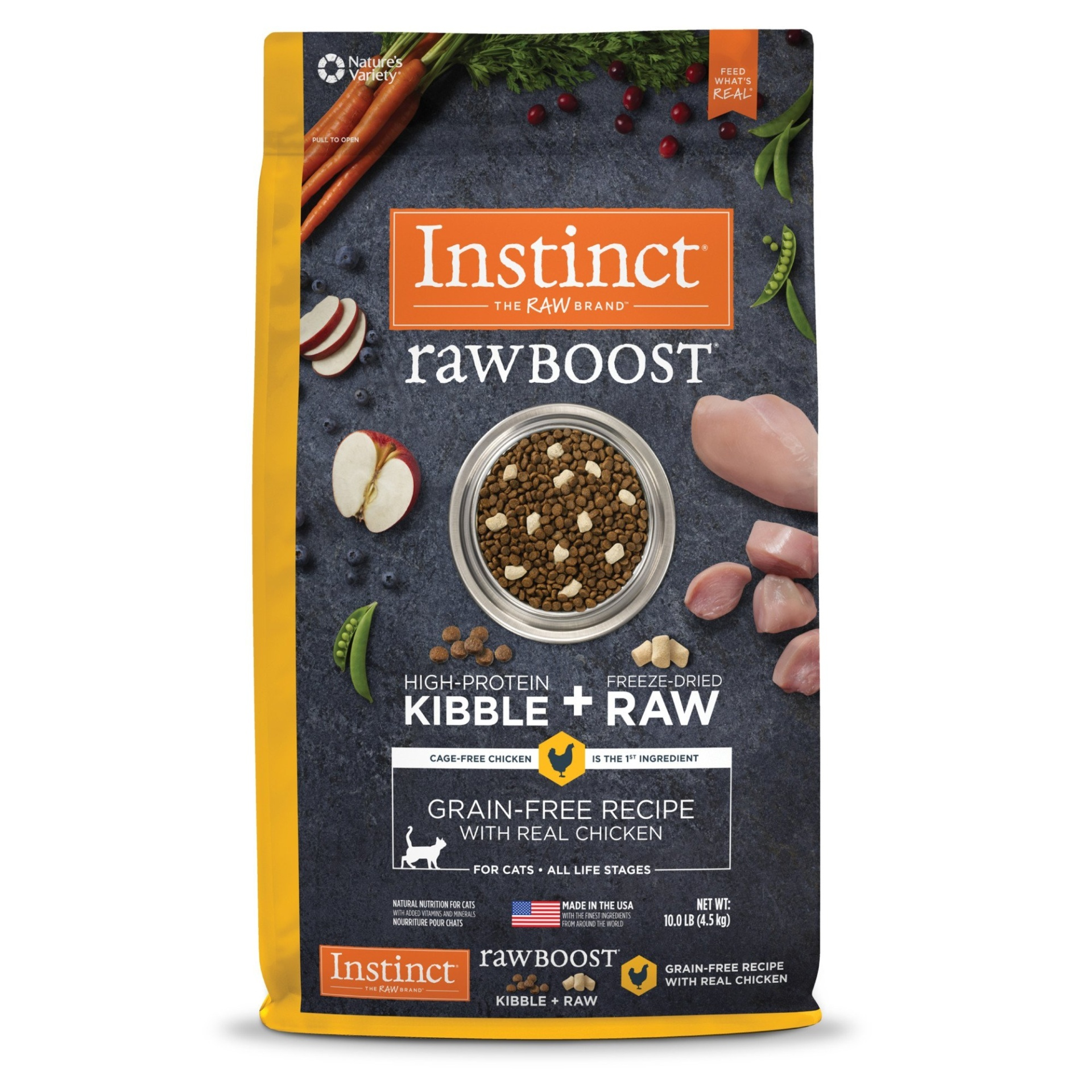 slide 1 of 1, Nature's Variety Instinct Raw Boost Grain Free Recipe with Real Chicken Natural Dry Cat Food,
