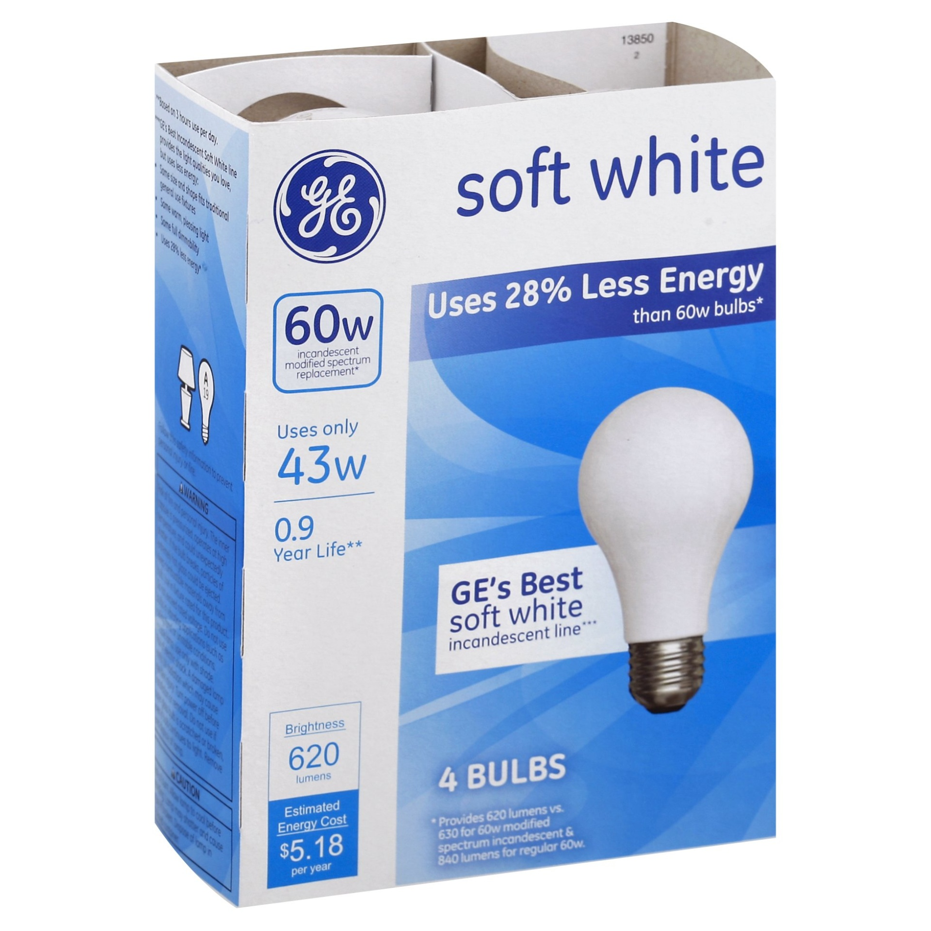 slide 1 of 1, GE 43 watt Halogen Soft White Light Bulbs,