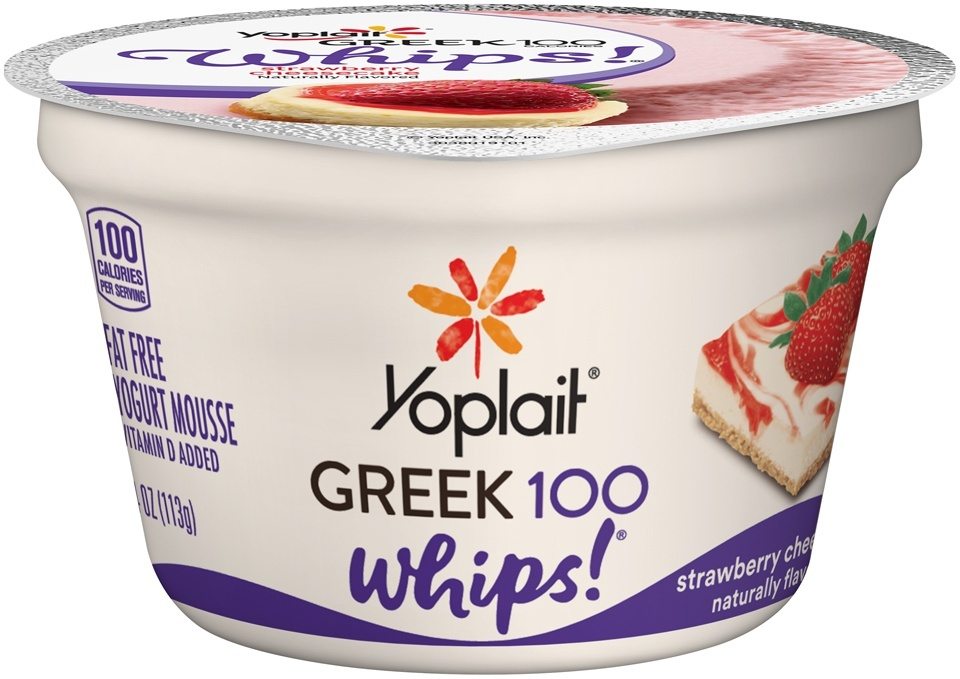 slide 1 of 1, Yoplait Strawberry Cheesecake Greek 100 Whips Yogurt Mousse,