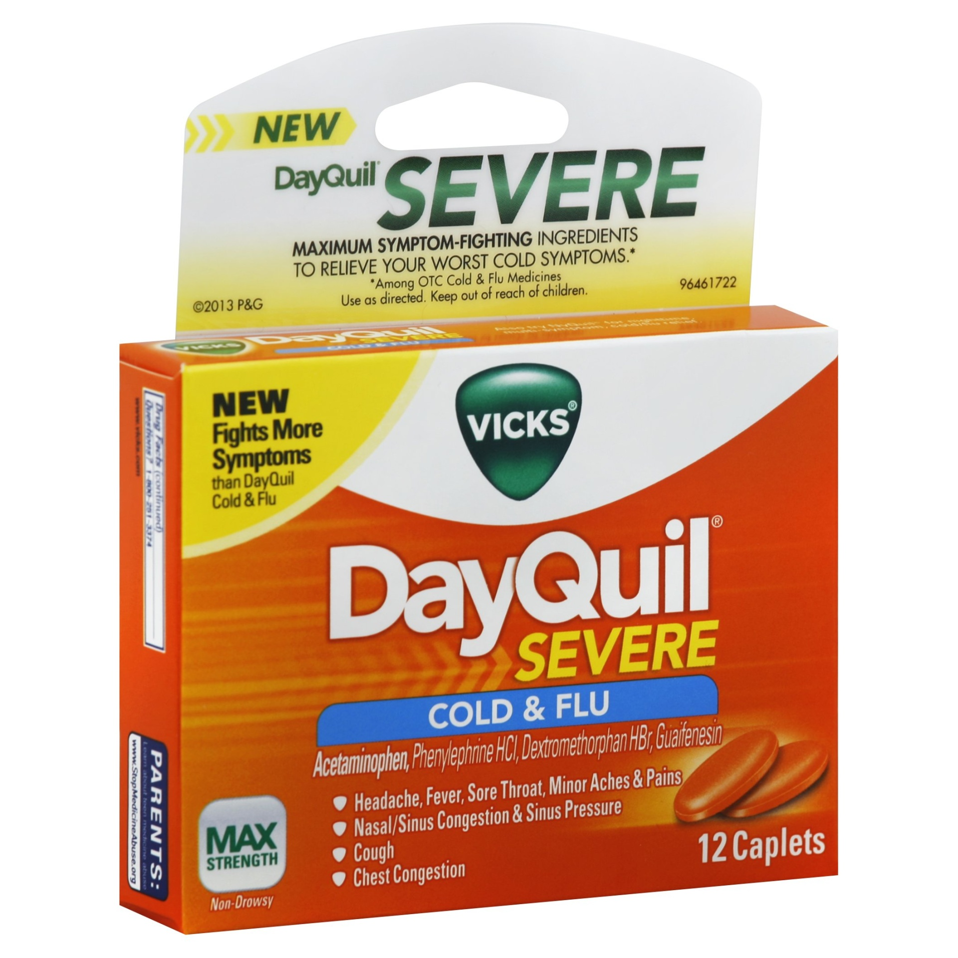 slide 1 of 1, Vicks DayQuil Severe Cold & Flu Max Strength Non-Drowsy Caplets,