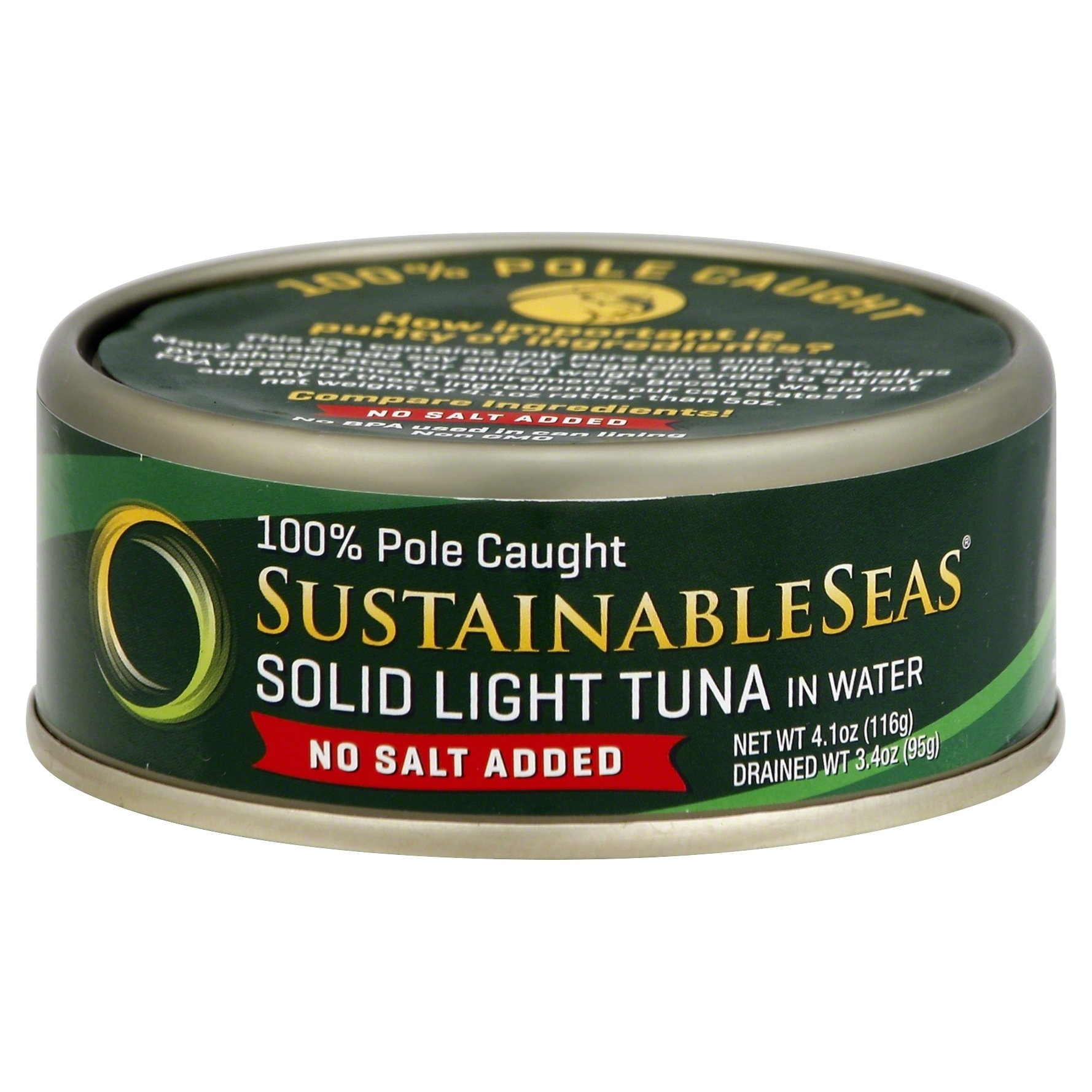 slide 1 of 1, Sustainable Seas Tuna Wild Skipjack Solid Light In Spring Water, No Salt,