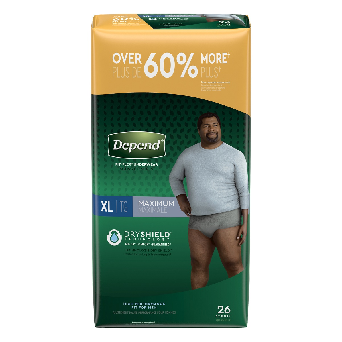 slide 1 of 3, Depend Fit-Flex Incontinence Underwear for Men, Maximum Absorbency, XL, Gray,