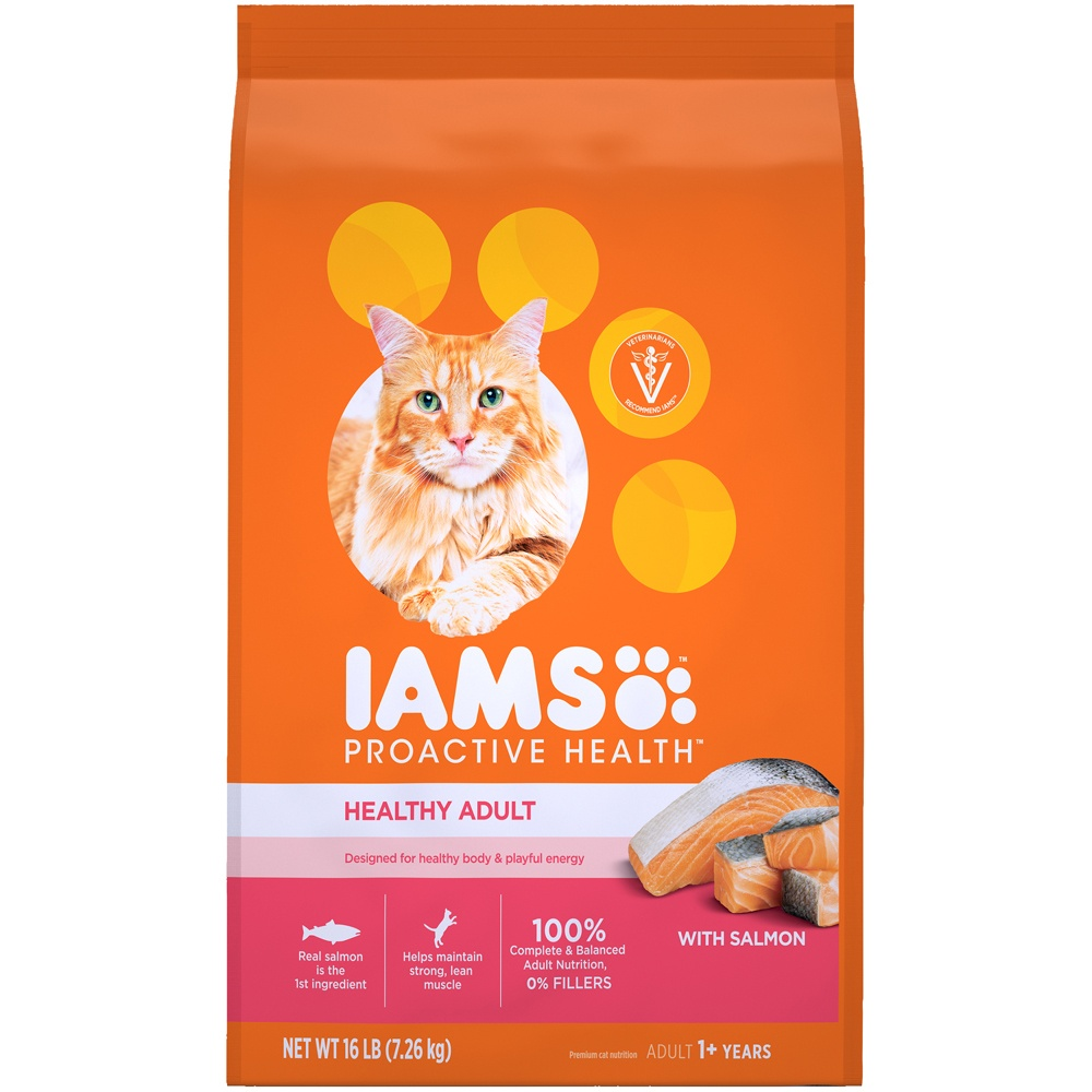 slide 2 of 10, IAMS Proactive Health Healthy Adult Dry Cat Food with Salmon & Tuna,