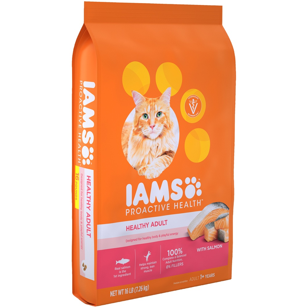 slide 3 of 10, IAMS Proactive Health Healthy Adult Dry Cat Food with Salmon & Tuna,