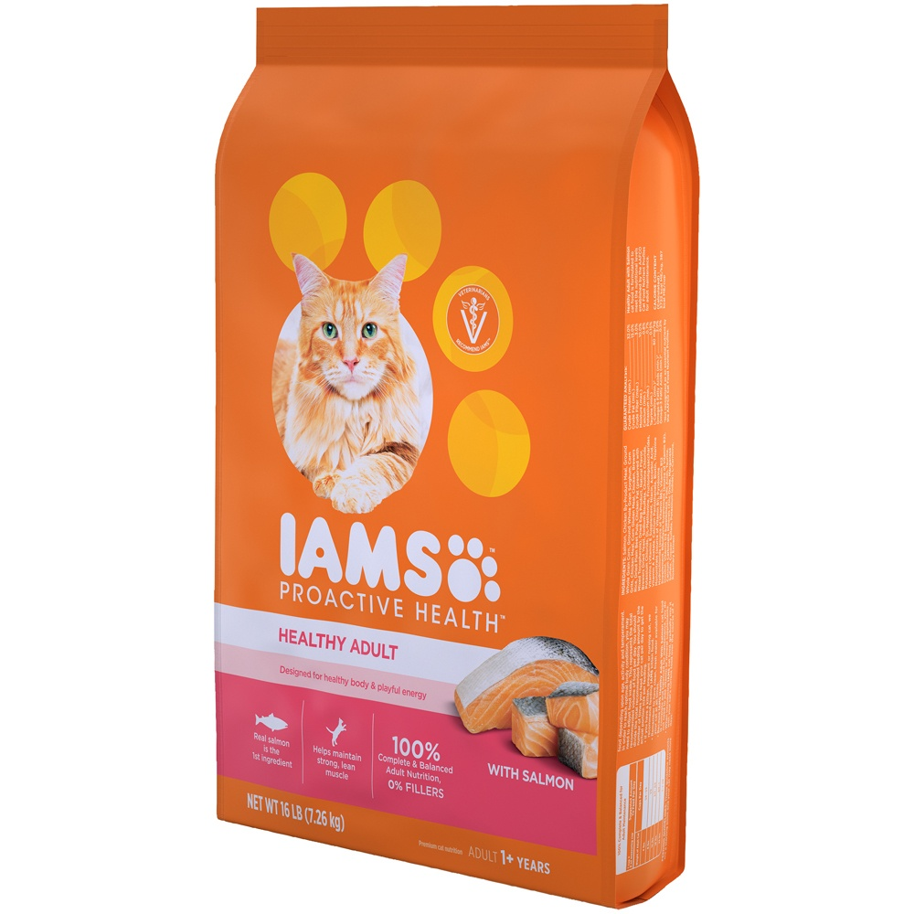 slide 4 of 10, IAMS Proactive Health Healthy Adult Dry Cat Food with Salmon & Tuna,