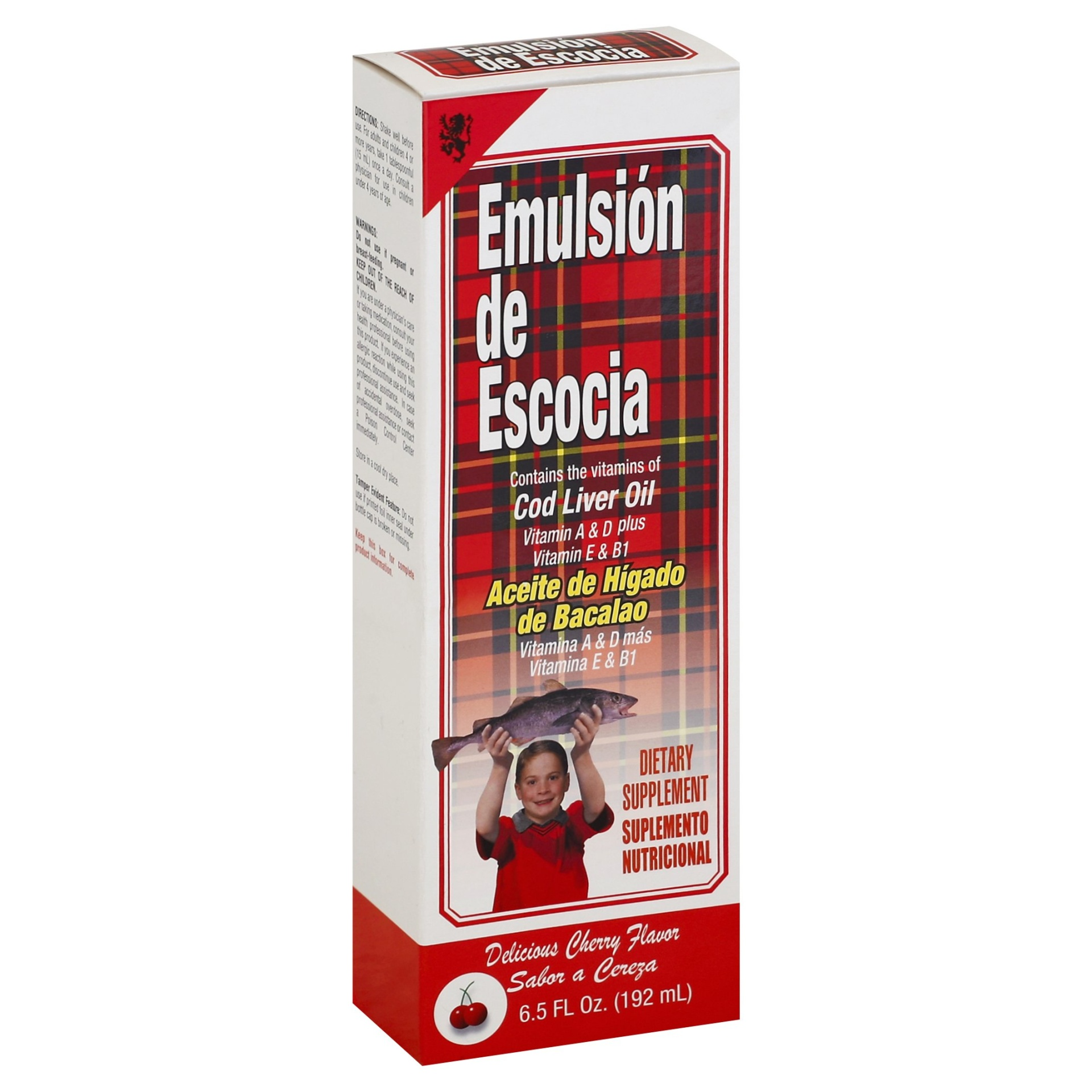 slide 1 of 1, Emulsion de Escocia Dietary Supplement, Cherry,