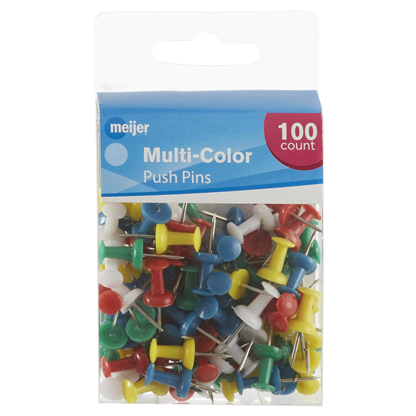 slide 1 of 2, Meijer Multi-Color Push Pins,