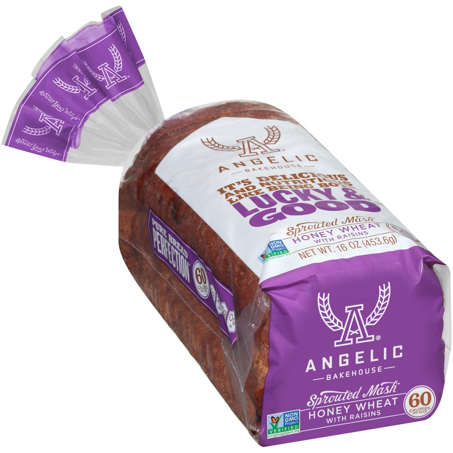slide 2 of 8, Angelic Bakehouse Angelic Sprouted Mash Honey Wheat Bread With Raisins,