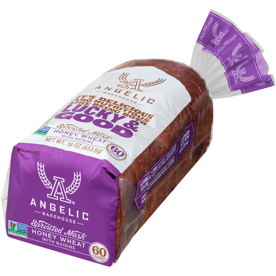 slide 3 of 8, Angelic Bakehouse Angelic Sprouted Mash Honey Wheat Bread With Raisins,