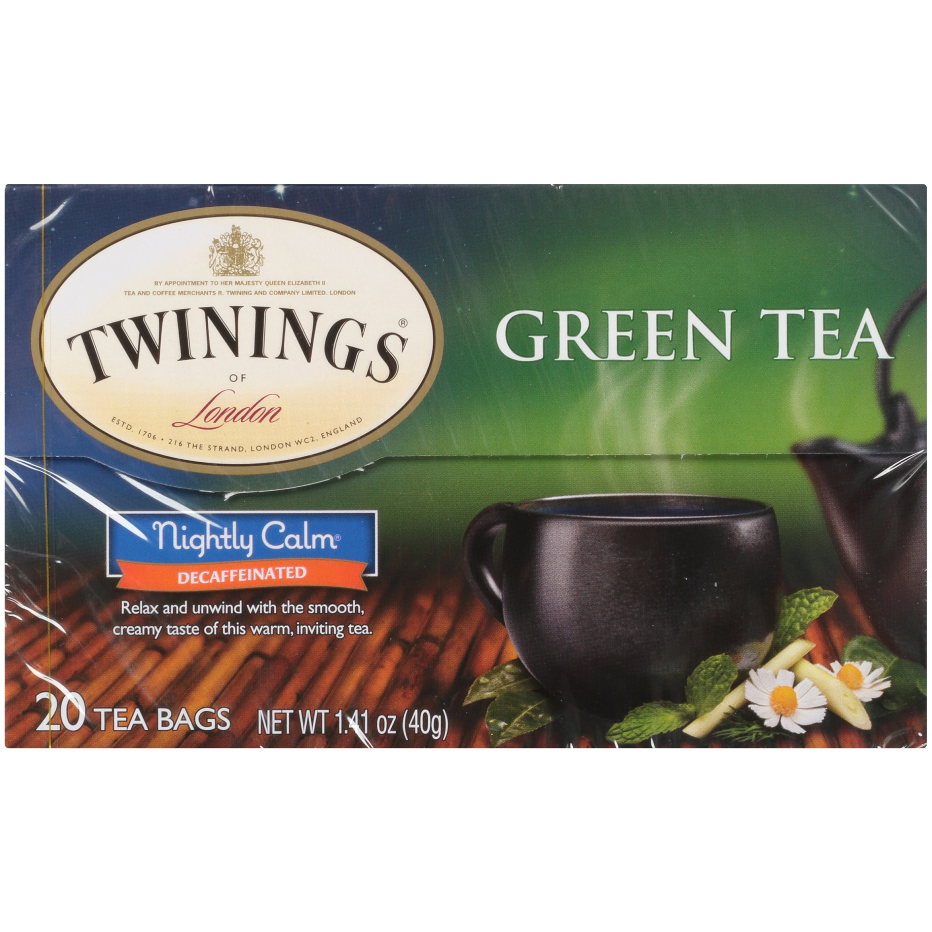 slide 6 of 7, Twinings of London Nightly Calm Green 20 Ct Tea Bags,