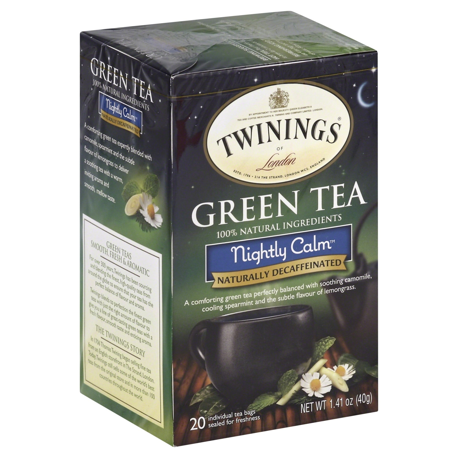 slide 1 of 7, Twinings of London Nightly Calm Green 20 Ct Tea Bags,